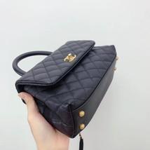 100% AUTH CHANEL SMALL COCO HANDLE BAG BLACK CAVIAR GHW image 6