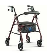 Rollator Walker w/ Chair Folding Steel Frame Padded Seat & Storage (4) 6... - $96.74