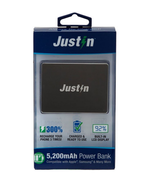 Justin Power Bank Phone Charger 5,200mAh Black with LCD - $29.69