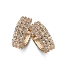 Sterling silver New Bling hoop earrings  with 15mm/5mm white zc rosegold... - $34.65