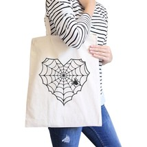 Heart Spider Web Natural Canvas Bags - $14.99