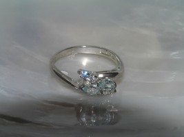 Estate Dainty 925 Marked Silver w Two Light Blue Clear Rhinestone Accent... - $12.19