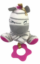 Carters Child of Mine Pink Zebra Stuffed Plush Baby Teether Pull Toy Rat... - $21.38