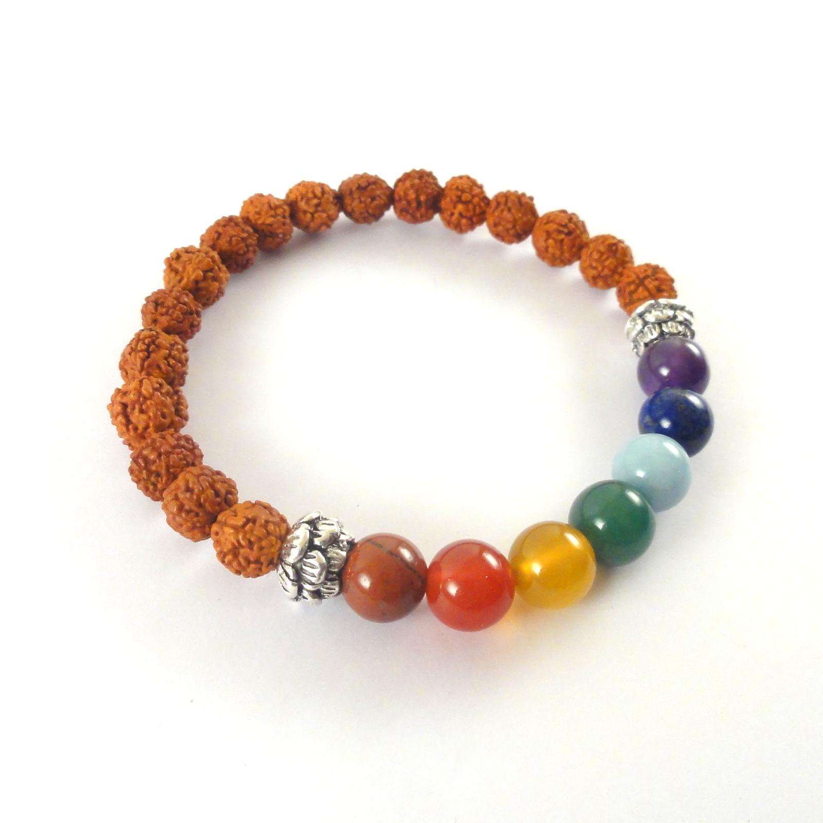 Rudraksha Bracelet with 7 Chakra Natural Gemstones