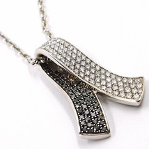 18K WHITE GOLD NECKLACE HUG BOW PENDANT WHITE BLACK DIAMONDS, DIAMOND CUT CHAIN image 1