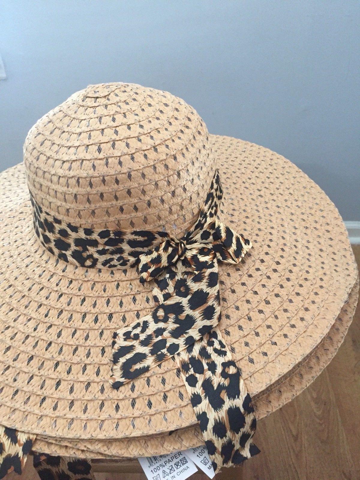 (DARK TAN) Sun-Floppy-Hat--Beach-Summer-Wide-Brim-With-Animal-Print-Ribbon