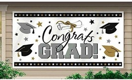 Celebration Large Grad School Horizontal Black Plastic Silver and Gold P... - $23.90