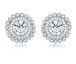 Sterling Silver Round Cut Signity CZ Double Bubble Pave Halo Stud Earrings 5.0Ct - $64.34