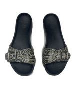 Crocs Womens Size 8 Slides Sandals Cheetah Black Brown Buckle - $34.65