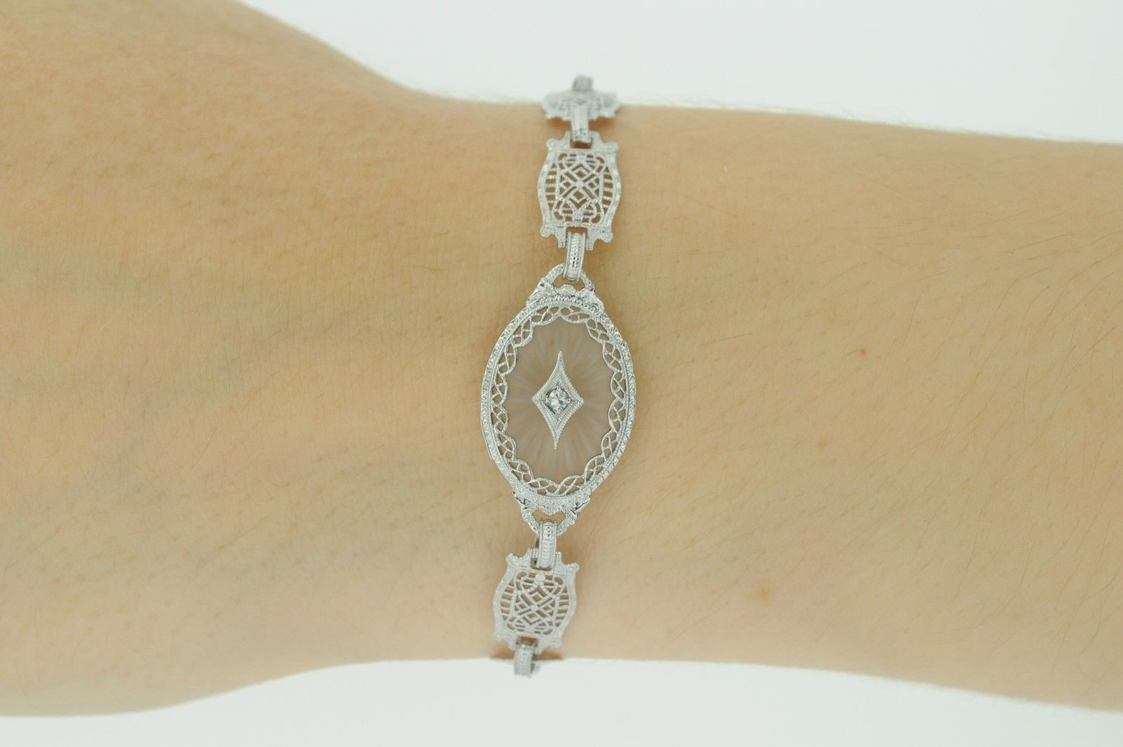 "Art Deco (ca. 1930) 10K White Gold Diamond & Etched Glass Bracelet (6 3/4"") image 4"