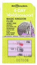 1986 Magic Kingdom Club Walt Disney World 4 day worldpassport Used Adult... - $42.08