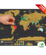 Big Size Travel World Map Scratch Off Deluxe Poster Copper Foil Wall Sticker New - $14.69 - $17.63