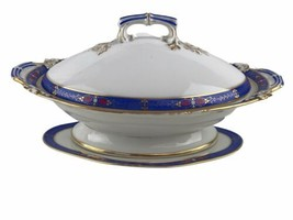 Antique Vintage Edwardian Continental Porcelain Soup Tureen Blue Gold Tr... - $163.63