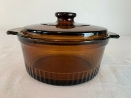 VTG MCM Anchor Hocking Fire King #1436 Amber Glass Casserole Dish & Lid ... - $23.71