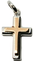 Cross Pendant in Rose Gold and White 18K 750 Bicolor Crucifix Made in Italy - $275.91