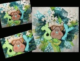 Christmas Wreath, Reindeer Wreath, Ribbon Wreath, Reindeer - $59.99