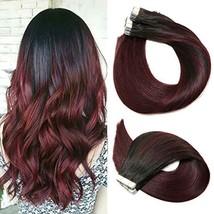 Tape In Hair Extensions Human Hair Ombre Hair 20pcs/50g Per Set Natural Black Fa