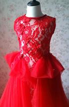 Pageant Red Lace Tutu High Waist Flower Girl Dress 2-Way Girl Birthday Dress NWT image 1