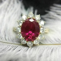 14K Yellow Gold Finish 3Ct Oval Cut Red Ruby Diamond Pretty Halo Engagem... - $86.89