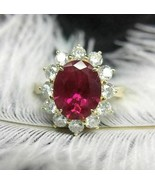 14K Yellow Gold Finish 3Ct Oval Cut Red Ruby Diamond Pretty Halo Engagem... - $86.89