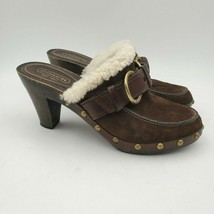 Coach Sondra Size 7.5 Mules Womens Slip On Shearling Shoes Brown Leather - $42.52