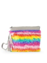 No Boundaries Rainbow Wallet Wristlet Rainbow Faux Fur Carry All NEW - €11,71 EUR