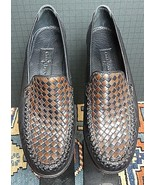 Cole Haan Country Black & Tan Woven Leather Classic Loafer Sz. 7,5AA MINT! - $47.03