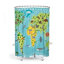 Kid Shower Curtain VODW Animal Map Blue Waterproof 70.9 inch Cute Decora... - $19.94
