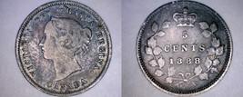 1888 Canada 5 Cent World Silver Coin - Canada - Victoria - $19.99