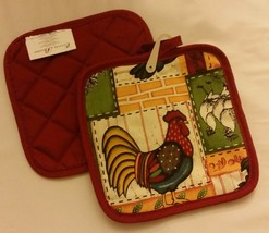 2 Same Printed Kitchen Pot Holders by Emma Brooke, ROOSTER by HD - $7.91