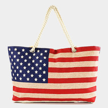 American flag canvas tote beach bag      - $29.99