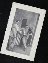 Antique Vintage Photograph Woman With Two Men Leaning on Fence in Yard - $6.93