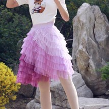 Women Tiered Tulle Skirt Plus Size Knee Length Pink Tulle Skirt Holiday Outfit image 1