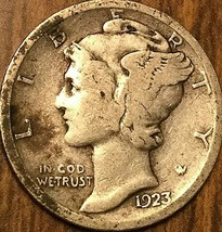 1923 UNITED STATES MERCURY SILVER DIME 10 CENTS COIN - $4.12