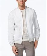 $155 Alfani Men's Collection Bomber Jacket, Bright White, Size M - $69.29