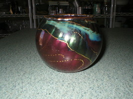 Vtg 2000 Norway Bente Sovik Bud Bowl Glass Signed Purple Green Blue 3 1/... - $24.89