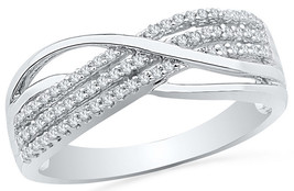 10kt White Gold Womens Round Diamond Band Crossover Ring 1/5 Cttw - £180.21 GBP