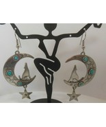 Vintage Signed JJ 1988 Earrings- Crescent Moon Howling Wolves, Dangling ... - $18.99