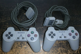 2 Sony PlayStation PS1 Dual Shock Analog Gray OEM Controller SCPH-1200 U... - $19.79