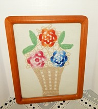 VINTAGE WOOD FRAMED CROCHET ART FLOWER BASKET~MINT WORK~COLORFUL ON AIDA... - $24.70