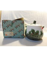 Vintage Lefton Japan Ceramic Christmas White Holly Berry Cookie Jar 1386... - $24.95