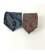 Vtg Paisley Tie lot Cambridge Classics Mervyns Stafford 100% Silk Mod USA - $18.80