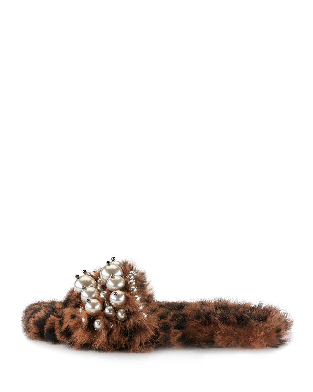 Miu Miu Pearly Fur Slide Sandals, Leopard Size 37.5 MSRP: $990.00