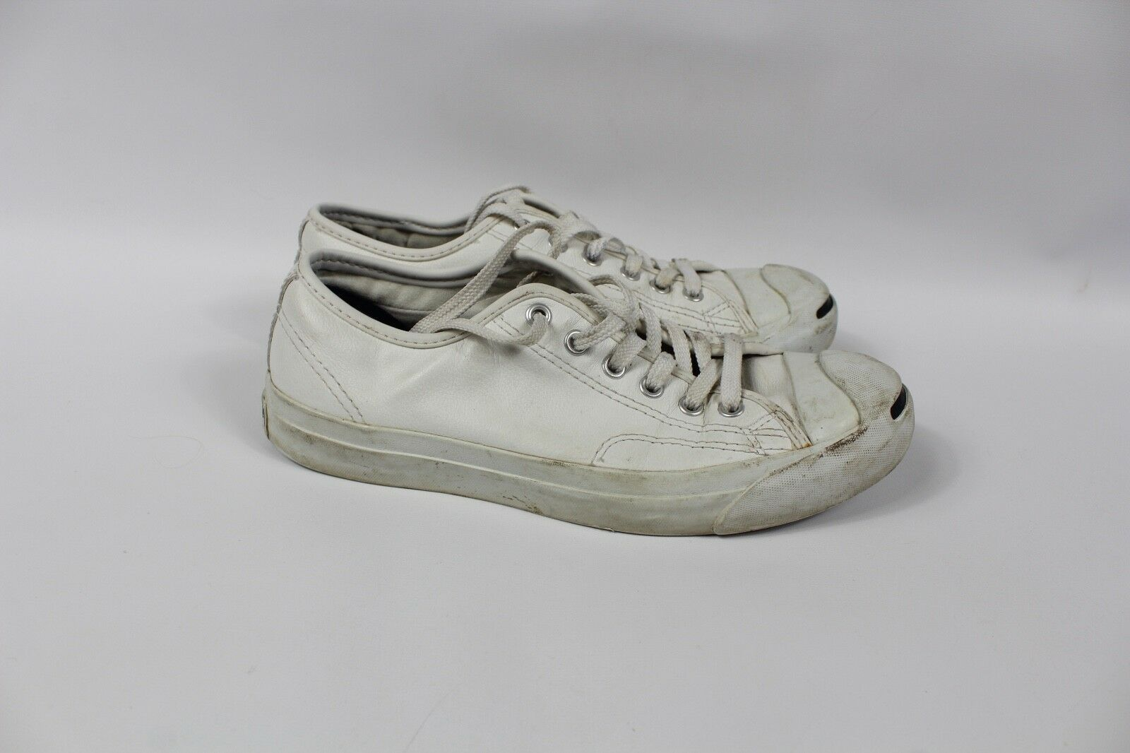 Converse Jack Purcell Mens Size 7 Womens 8.5 Leather Lace Sneakers Shoes White