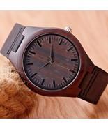 Nature Wooden Watch Minimalist Clock Bamboo Genuine Leather Fashion Gift - $24.00