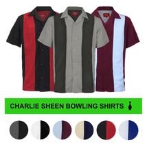 Men's Retro Classic Charlie Sheen Two Tone Guayabera Bowling Casual Dress Shirt