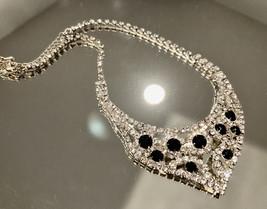 VTG Black & Clear Rhinestone Bling Sparkle Bib Choker Necklace~Rhodium Plated - $28.00