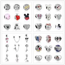 Mickey Minnie Pandora Charms DIY Silver Beads Necklace Bracelet Valentines Gift - $3.94+
