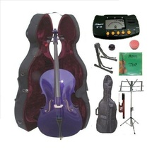 1/4 Size Purple Cello,Hard Case,Soft Bag,Bow,Strings,Metro Tuner,2 Stand... - $219.99