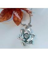 Silver Rose Pendant Necklace - $10.00